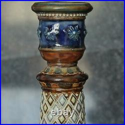 Doulton Lambeth Beautifully Decorated Pair of 10.5 Candlesticks dated 1880