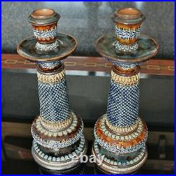 Doulton Lambeth Beautifully Decorated Pair of 9.5 Candlesticks dated 1881