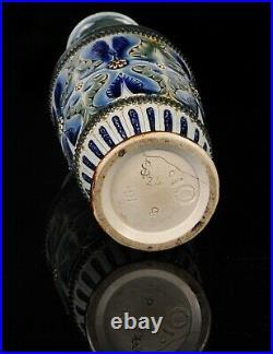 Doulton Lambeth Blue Brown Green Floral Foliate Stoneware Vase, Dated 1880