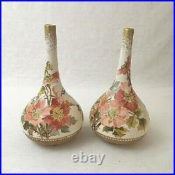 Doulton Lambeth Carrara Pair of Onion Vases Antique Floral Rosa Keen