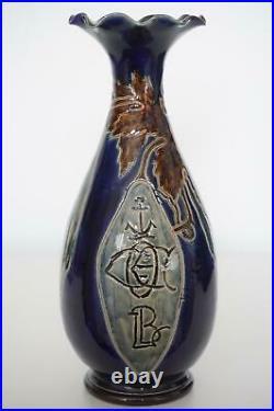 Doulton Lambeth Cocoa Pod Vase Harry Barnard Interesting Marks c. 1888