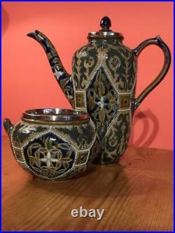 Doulton Lambeth Coffee Pot & Sugar Bowl 1878 Mary Mitchell Silver Rims Mappin