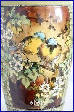 Doulton Lambeth Faience Vase Panels Of Blue Tits Isabel Lewis c. 1881