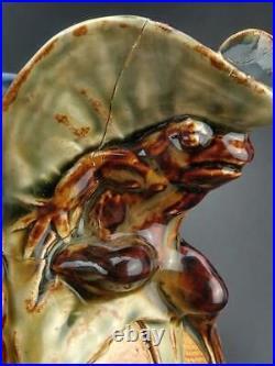Doulton Lambeth Grotesque Art Pottery Jug Pair Frog and Lizard Design