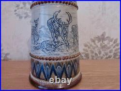 Doulton Lambeth, Lemonade Jug, Hannah Barlow, Stag, Deer And A Fox, Dated 1885