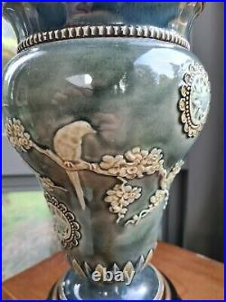 Doulton Lambeth Oil Lamp 1882 Harriet Hibbett Aesthetic Movement Stoneware A1