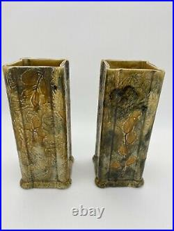 Doulton Lambeth Pair Of Leaf Vases Beige Matching