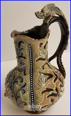 Doulton Lambeth Saltglaze Stoneware Jug Frank Butler. Mythical Beast Handle