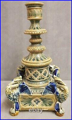 Doulton Lambeth Saltglaze Stoneware art pottery Candlestick Griffins 1879