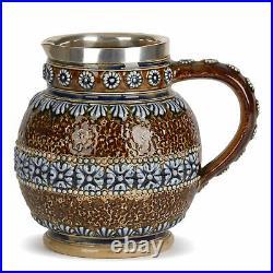 Doulton Lambeth Silver Rimmed Jug Elizabeth Atkins 1876
