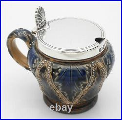 Doulton Lambeth & Sterling Silver Mustard Pot 1888 Antique