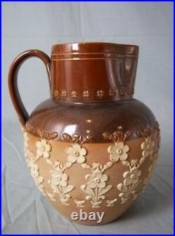 Doulton Lambeth Stoneware Jug with Applied Floral Decor
