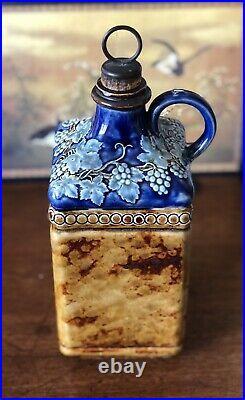 Doulton Lambeth Stoneware Majolica Wine Bottle C. 1880 With Brass & Cork Stopper