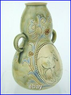 Doulton Lambeth Twin Handled Vase Decorated with Horses by Hannah Barlow