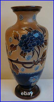 Doulton Lambeth Vases very large Pair antique stoneware pottery by E Partington