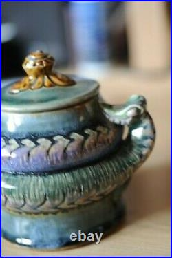 Doulton Lambeth lidded pot with snake coiling around ex. Harriman Judd coll'n