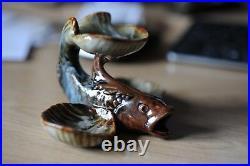 Doulton Lambeth salt fish with three trays 7cm