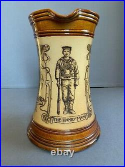 Doulton Lambeth stoneware Art Nouveau pottery ale jug Boer War British Navy 1899