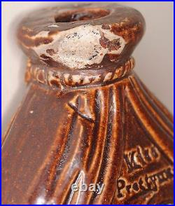 Doulton & Watts Lambeth Pottery reform flask Mr Mrs Caudle curtain lectures 1845