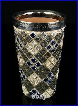 -EMMA SHUTE for DOULTON LAMBETH- c1879 BLUE/GREEN STONEWARE BEAKER MUG CUP VASE