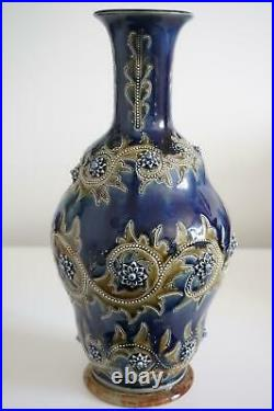 Early Doulton Lambeth Vase By George Tinworth Superb Shape c. 1876