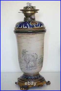 Exceptional Doulton Lambeth Oil Lamp Hannah Barlow c. 1882