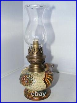 Extremely Rare Doulton Lambeth Novelty Owl Oil Lamp c1880 Excellent Condition