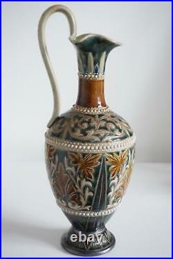 Fine Doulton Lambeth Ewer Jug Vase Foliate Design Frances E. Lee c. 1881