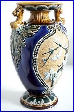 Fine Doulton Lambeth Vase Prunus In Relief Lions Heads John Broad c. 1885