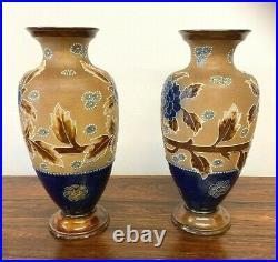 Fine Pair Of Royal Doulton Art Pottery Slaters Patent Vases Flowers