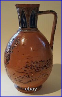 Hannah Barlow Royal Doulton Lambeth vintage Victorian antique horse & stag jug
