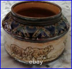 Hannah Barlow sheep bowl signed Doulton Stoneware scraffito 1880