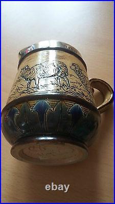 Hannah Barlow sheep jug, Hallmarked & signed Doulton Stoneware scraffito 1878