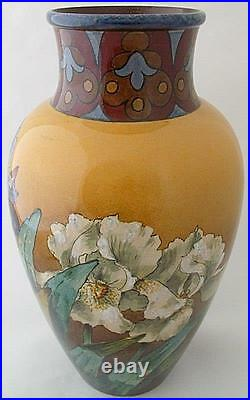Impressive Large Doulton Lamberth Faience Vase With Floral Design