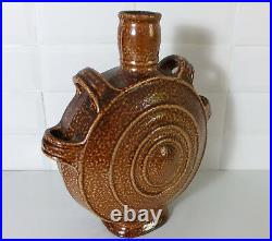 Large Doulton Lambeth stoneware Tigerware flask by Frances C Pope