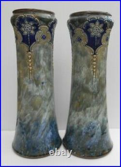 Large Pair Royal Doulton Lambeth Vases Louisa Wakely Art Nouveau Design