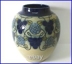 Large Royal Doulton Lambeth hand painted stoneware vase by Margaret Thompson