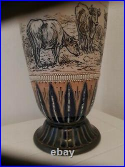 Monumental Doulton Lambeth vase By Hannah Barlow 42cm High Dated C1879 Excellent
