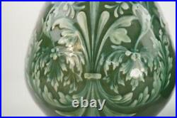 Pair Antique Doulton Lambeth Bottle Vases White Paste Over Green Ground
