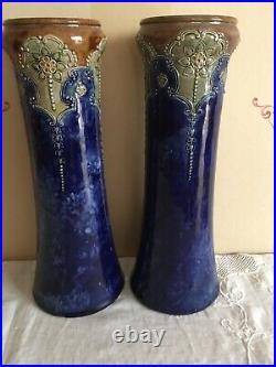 Pair Art Nouveau Doulton Lambeth Blue Stoneware Vases 13