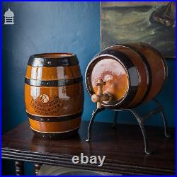 Pair Late 19th C Doulton Lambeth Stoneware Pedestrian Barrelette Picnic Whiskey