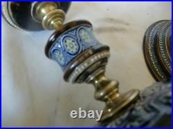 Pair Of Doulton Lambeth Stoneware and Brass Candlesticks circa 1890