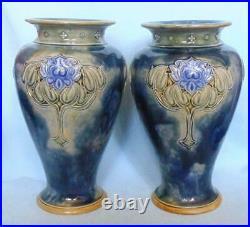 Pair Of Large Doulton Lambeth Vases Art Nouveau Design Lily Partington 8085