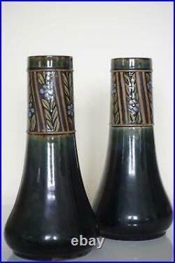 Pair Royal Doulton Lambeth Floral Vases Art Deco Style Jane Hurst c. 1920
