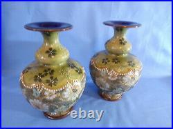 Pair Royal Doulton Slaters Lambeth Art Nouveau Vase Florrie Jones