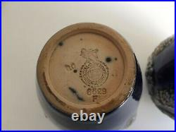 Pair of Antique Royal Doulton Lambeth Vases With Raised Swag & Grape Decoration