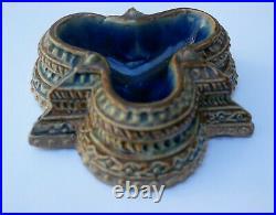 RARE Antique Doulton saltcellar 1872 artist E J Edwards, blue inner glaze