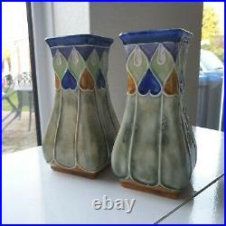 RARE Art Nouveau Royal Doulton Lambeth Maud Bowden PAIR Vases Vine & Leaf Design