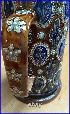 Rare Antique 1876 Lambeth Doulton'elizabeth Atkins' 6 3/4 Flowers Tankard