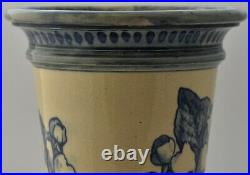 Rare Doulton Lambeth Faience Vase With Butterfly / Flowers / Foliage Design